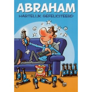 Wenskaart Abraham 50 jaar met een abraham die op de bank zit te zappen met een biertje in zijn hand