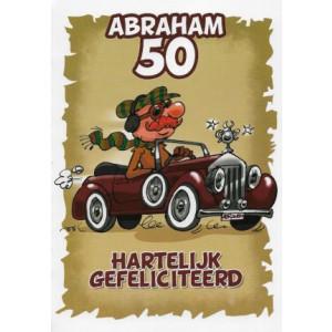 bruine wenskaart abraham 50 jaar met man in een auto