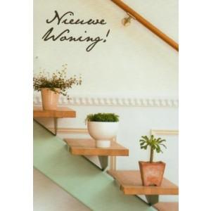 wenskaart nieuwe woning met een open trap met plantjes op de treden