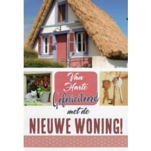 Felicitatiekaart voor een nieuwe woning met de afbeelding van een huis met een rieten dak