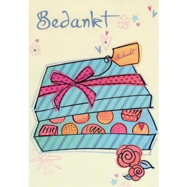 Wenskaart bedankt met de afbeelding van een doos met chocolaatjes
