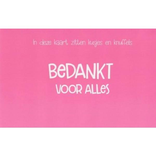 roze wenskaart kusjes en knuffels bedankt voor alles