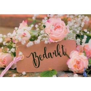 Wenskaart bedankt met roze rozen