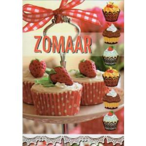 wenskaart met verschillende cupcakes en tekst zomaar