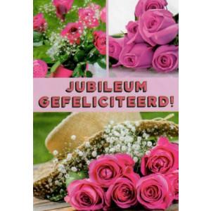 jubileum wenskaart gefeliciteerd met gekleurde rozen