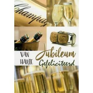 Wenskaart jubileum, van harte gefeliciteerd met allerlei afbeeldingen van champagne
