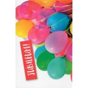 wenskaart met gekleurde ballonnen en de tekst jubileum