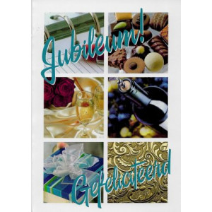 wenskaart jubileum met bonbons fles wijn en cadeau