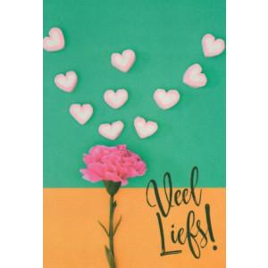 wenskaart met hartjes en roze bloem en de tekst heel veel liefs
