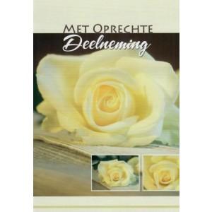 Mooie condoleance wenskaart in kleur met een passe-partout van witte rozen.