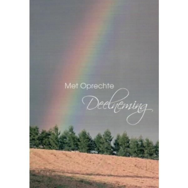 Condoleance wenskaart in kleur met de afbeelding van een regenboog.