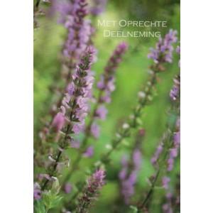 Condoleance wenskaart in kleur met de afbeelding van lavendeltakjes.