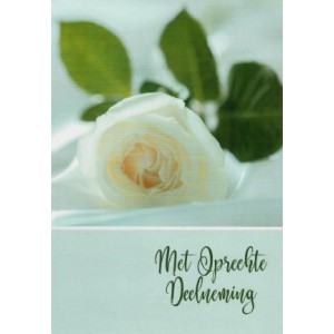 Condoleance wenskaart in kleur met de afbeelding van een witte roos.