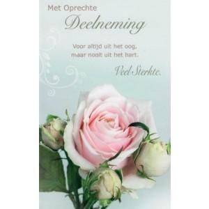 Condoleance wenskaart in kleur met de afbeelding van een roze roos en een passende tekst.