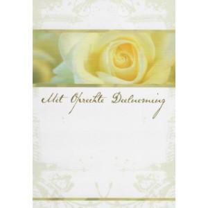 Condoleance wenskaart met de afbeelding van een witte roos.