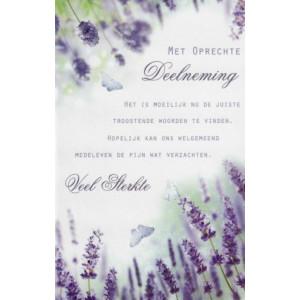 Condoleance wenskaart met mooie tekst en afbeelding van lavendel en vlinders.