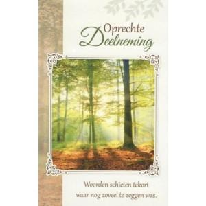 Condoleance wenskaart in kleur met tekst en afbeelding van een bos.