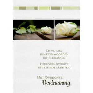Condoleance wenskaart in kleur met mooie tekst en witte rozen.