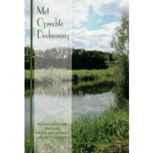 Condoleance wenskaart in kleur met mooie tekst en de afbeelding van een watertje in het bos