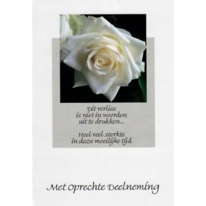 Condoleance wenskaart in kleur met mooie tekst en een witte roos.