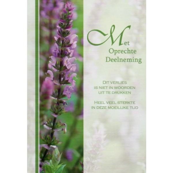 Condoleance wenskaart in kleur met mooie tekst en een takje lavendel.