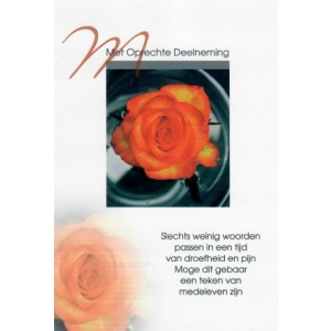 Condoleance wenskaart in kleur met gedicht en afbeelding van roos.
