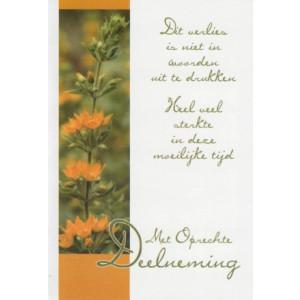 Condoleance kaart in kleur met een mooie tekst