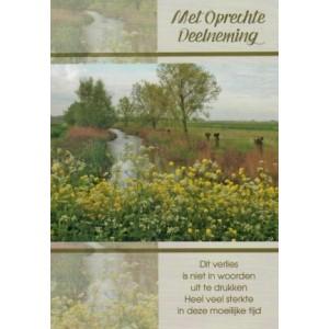 Condoleance wenskaart in kleur met een mooie aanvullende tekst en de afbeelding van een landschap.