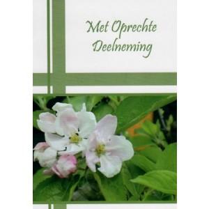 Condoleance wenskaart in kleur met roze-witte bloemen.