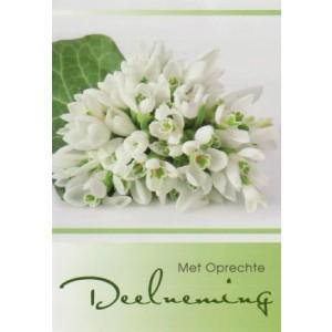 Condoleance wenskaart in kleur met witte bloemen.