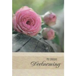 Condoleance wenskaart kleur met de afbeeldingen van roze rozen.