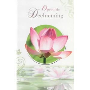 Condoleance wenskaart in kleur met de afbeelding van een roze-witte waterlelie