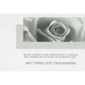 Condoleance wenskaart met gedicht en afbeelding van een roos.
