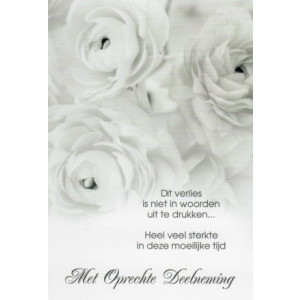 Condoleance wenskaart met tekst en afbeelding van pioenrozen.