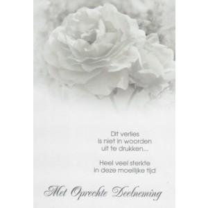 Condoleance wenskaart met tekst en een afbeelding van witte rozen