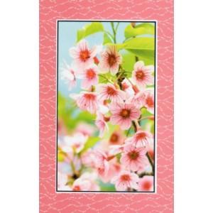 wenskaart zonder tekst met de afbeelding van roze bloesem