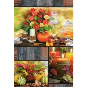 Wenskaart zonder tekst met bloemen in diverse herfstkleuren en kaarsen