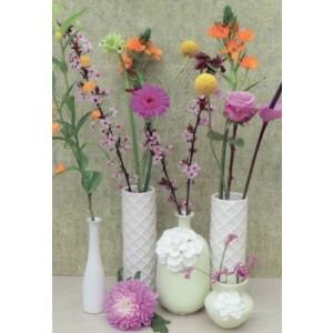 wenskaart zonder tekst met verschillend kleuren bloemen in 5 witte vaasjes