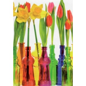 Mooie bloemen in gekleurde potjes op deze wenskaart voor elke gelegenheid!