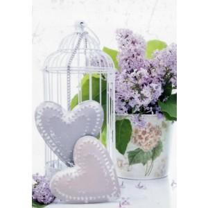 goedkope wenskaarten bestellen met foto van paarse bloemen, twee harten en een kooitje