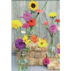 goedkope wenskaart met verschillende bloemen in glazen vaasjes bestellen