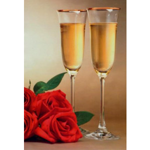 goedkope wenskaarten met rozen en champagneglazen