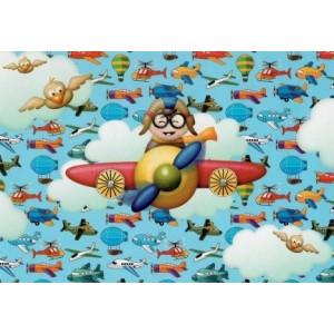 Wenskaart zonder tekst met veel afbeeldingen van vliegtuigen, helikopters en luchtballonnen