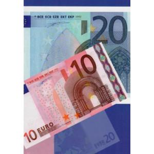 wenskaart met geld er op tien en twintig euro