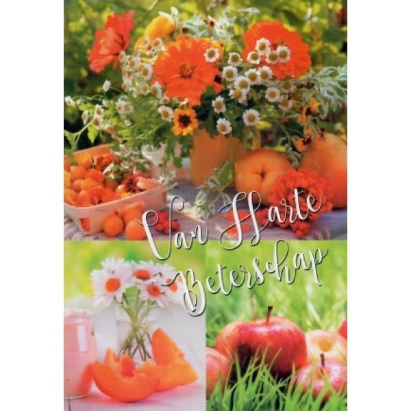 Wenskaart van harte beterschap met bloemen en fruit