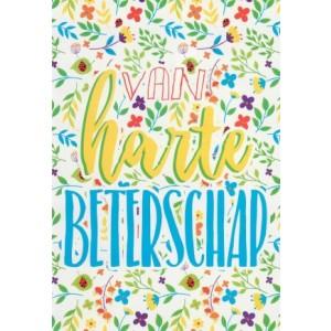 Beterschapskaart met getekende bloemetjes