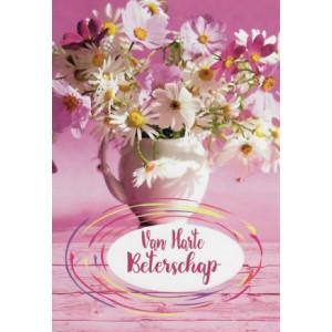 roze wenskaarten van harte beterschap met vaas en bloemen