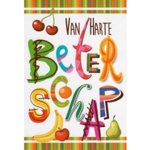 Wenskaart van harte beterschap in vrolijke letters en verschillende soorten fruit