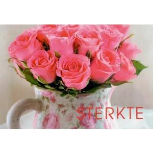 Wenskaart sterkte met roze rozen