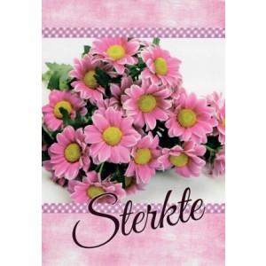 Wenskaart sterkte met de afbeelding van een bosje roze bloemen